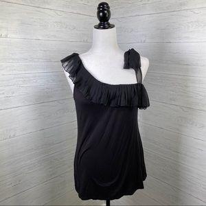 Suzy Shier Black One Shoulder Top